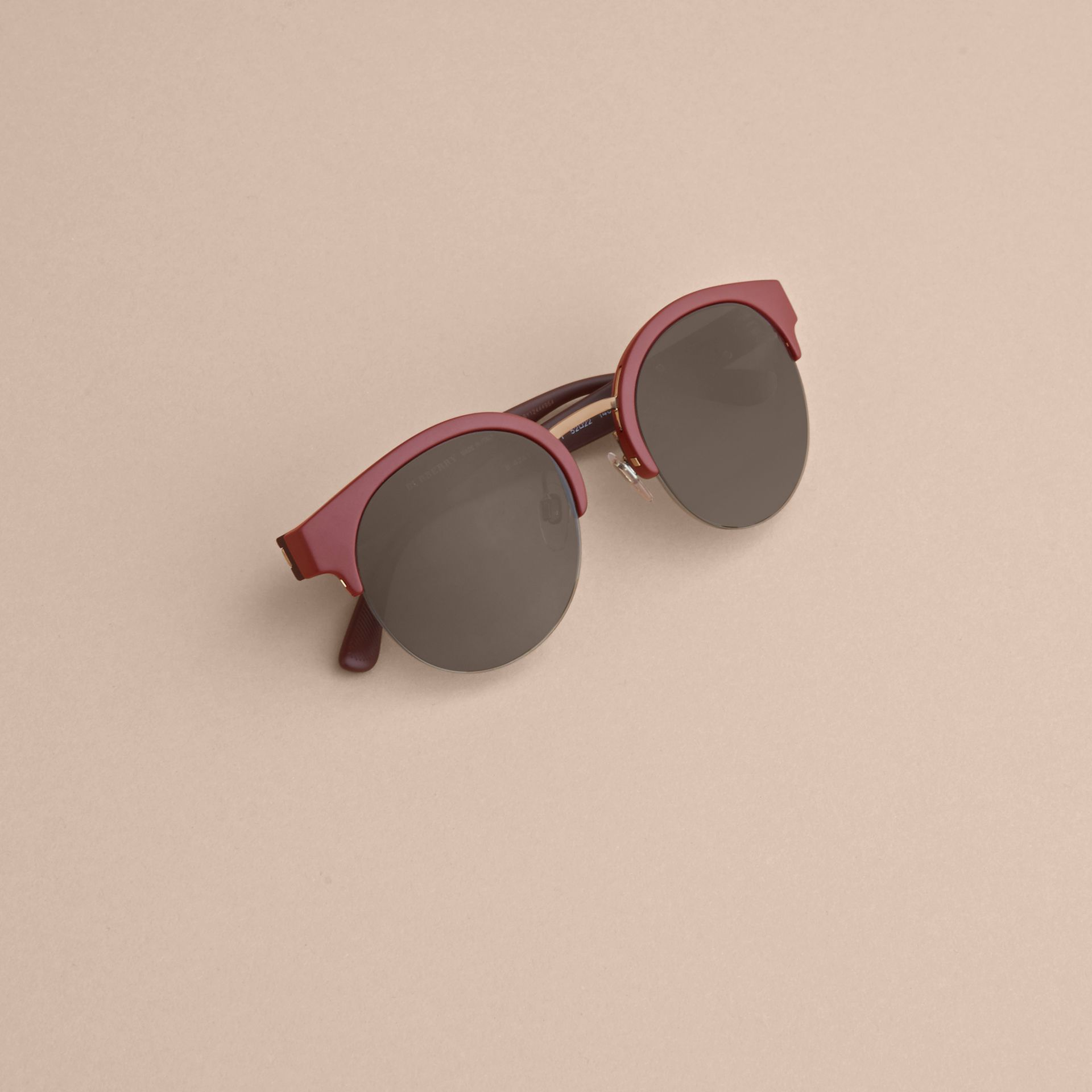 Check Detail Round Half-frame Sunglasses in Burgundy - Women | Burberry - gallery image 5
