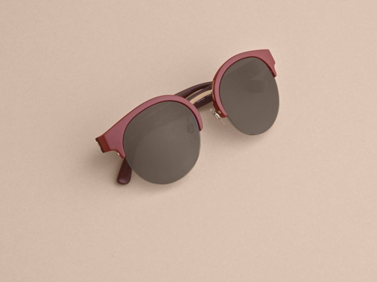 Check Detail Round Half-frame Sunglasses in Burgundy - Women | Burberry - cell image 4