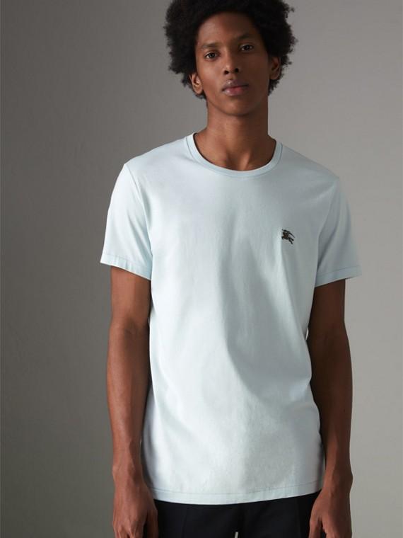 Camiseta de malha de algodão (Azul Pérola)