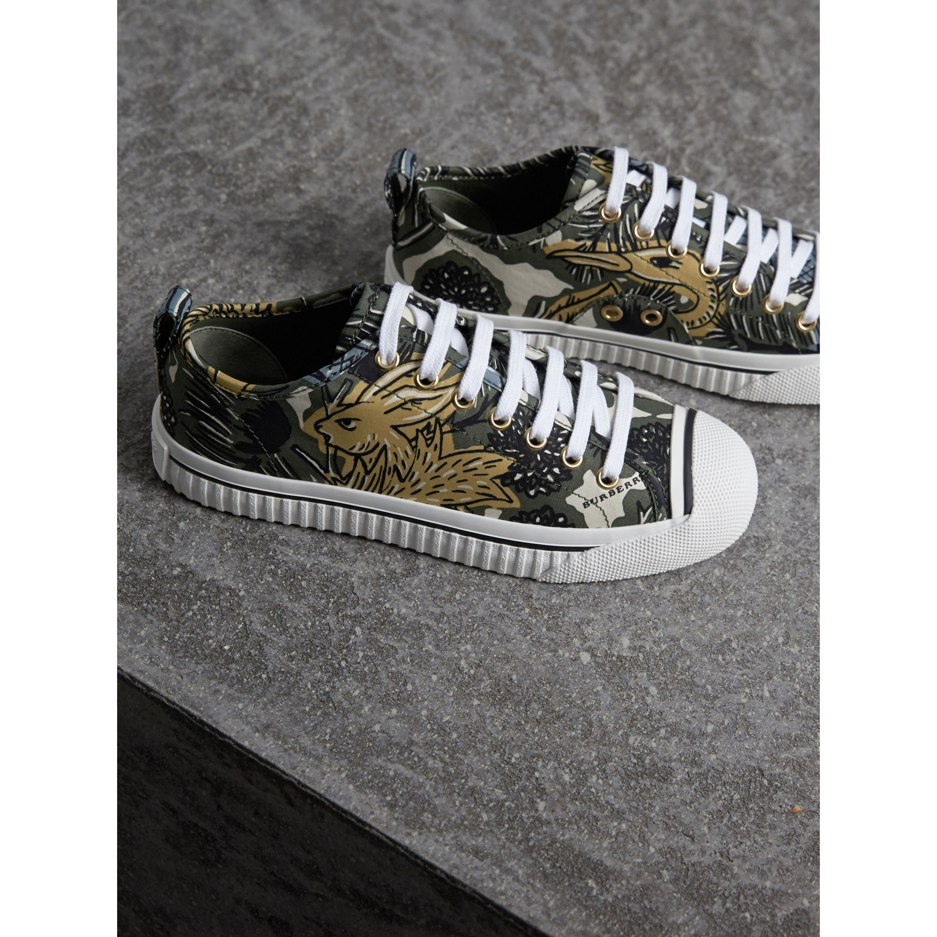 Beasts Print Cotton Blend Trainers in Clay Green - Women | Burberry - gallery image 4