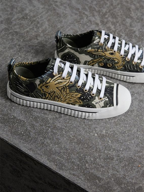 Beasts Print Cotton Blend Trainers in Clay Green - Women | Burberry - cell image 3