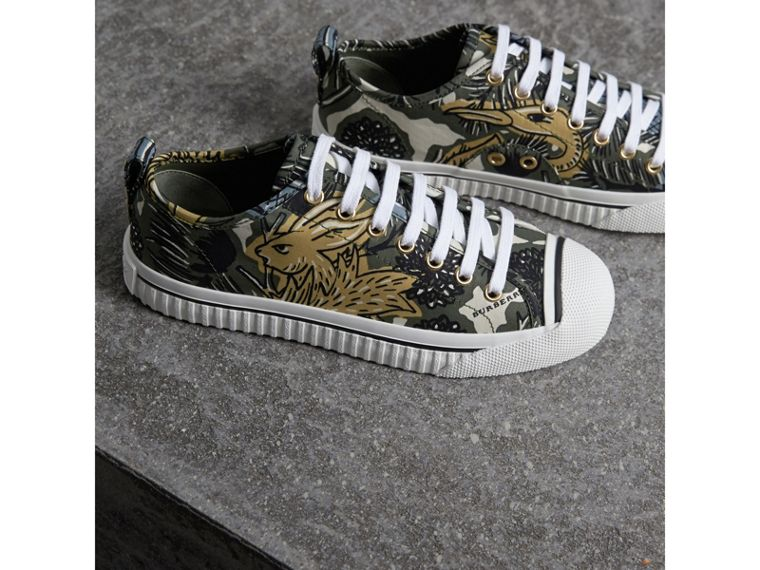 Beasts Print Cotton Blend Trainers in Clay Green - Women | Burberry - cell image 4