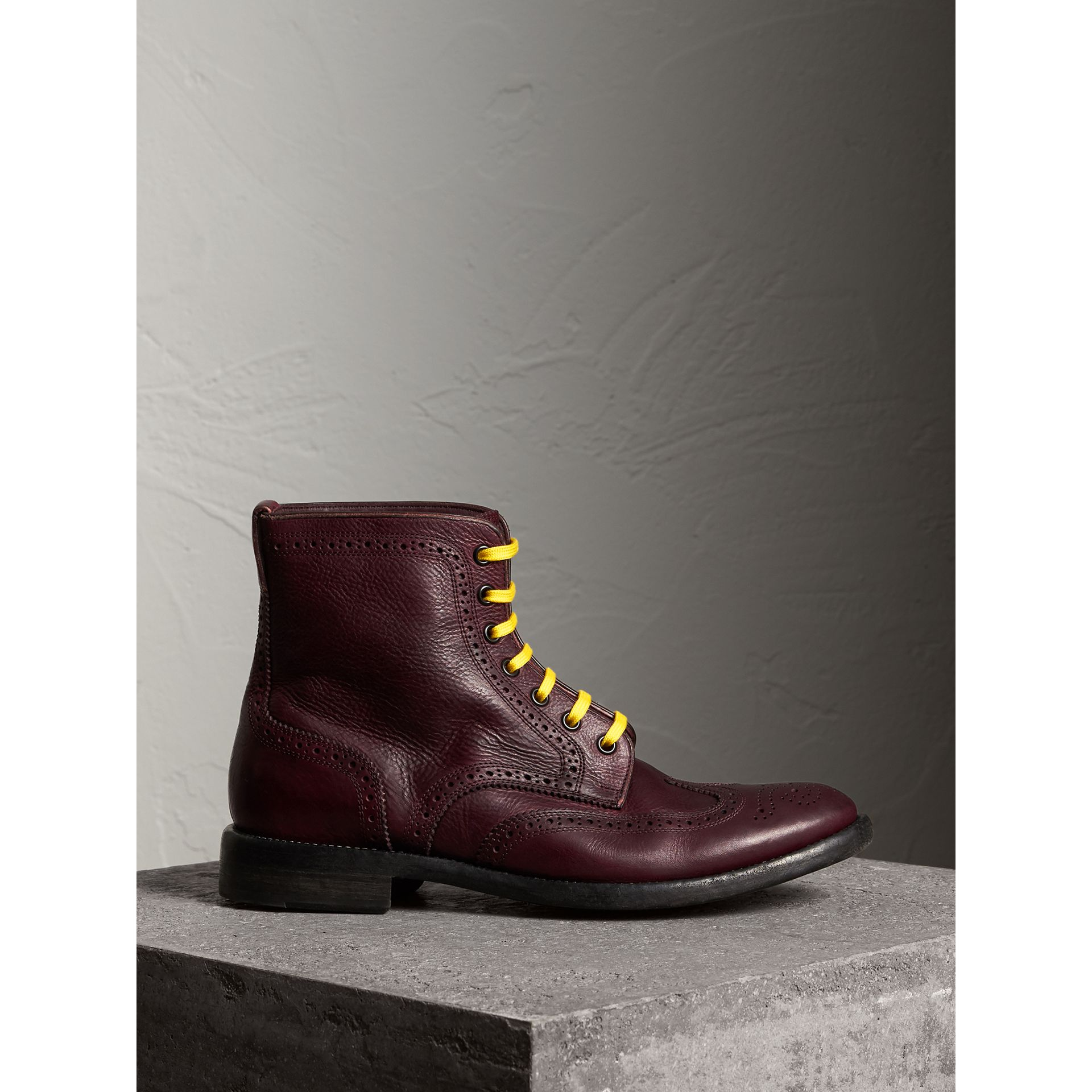 Leather Brogue Boots with Bright Laces in Cerise Purple - Men | Burberry - gallery image 1