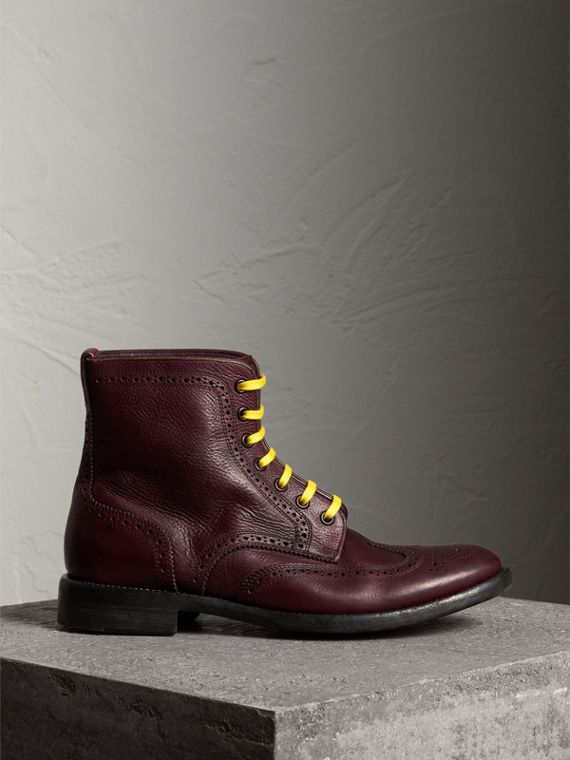 Leather Brogue Boots with Bright Laces in Cerise Purple