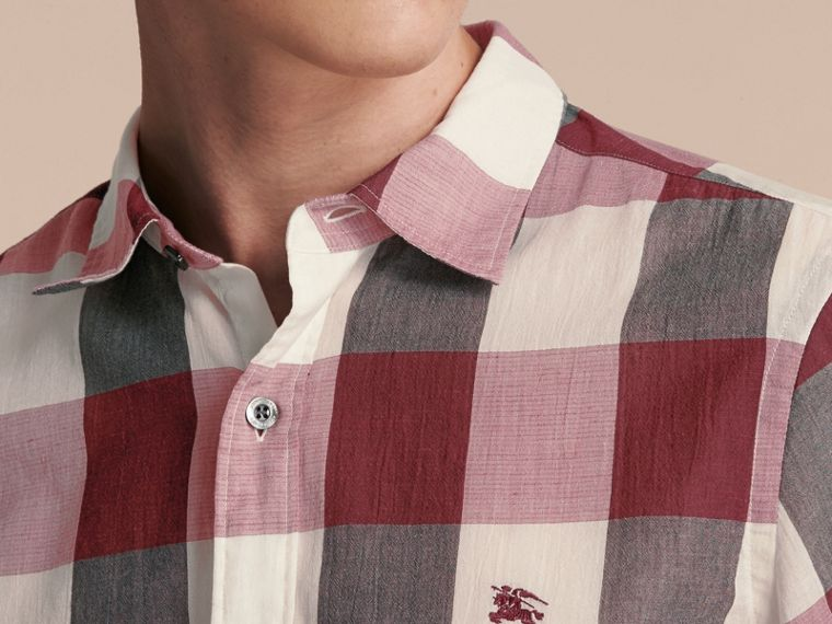 Oversize Gingham Cotton Linen Shirt Plum Pink - cell image 4