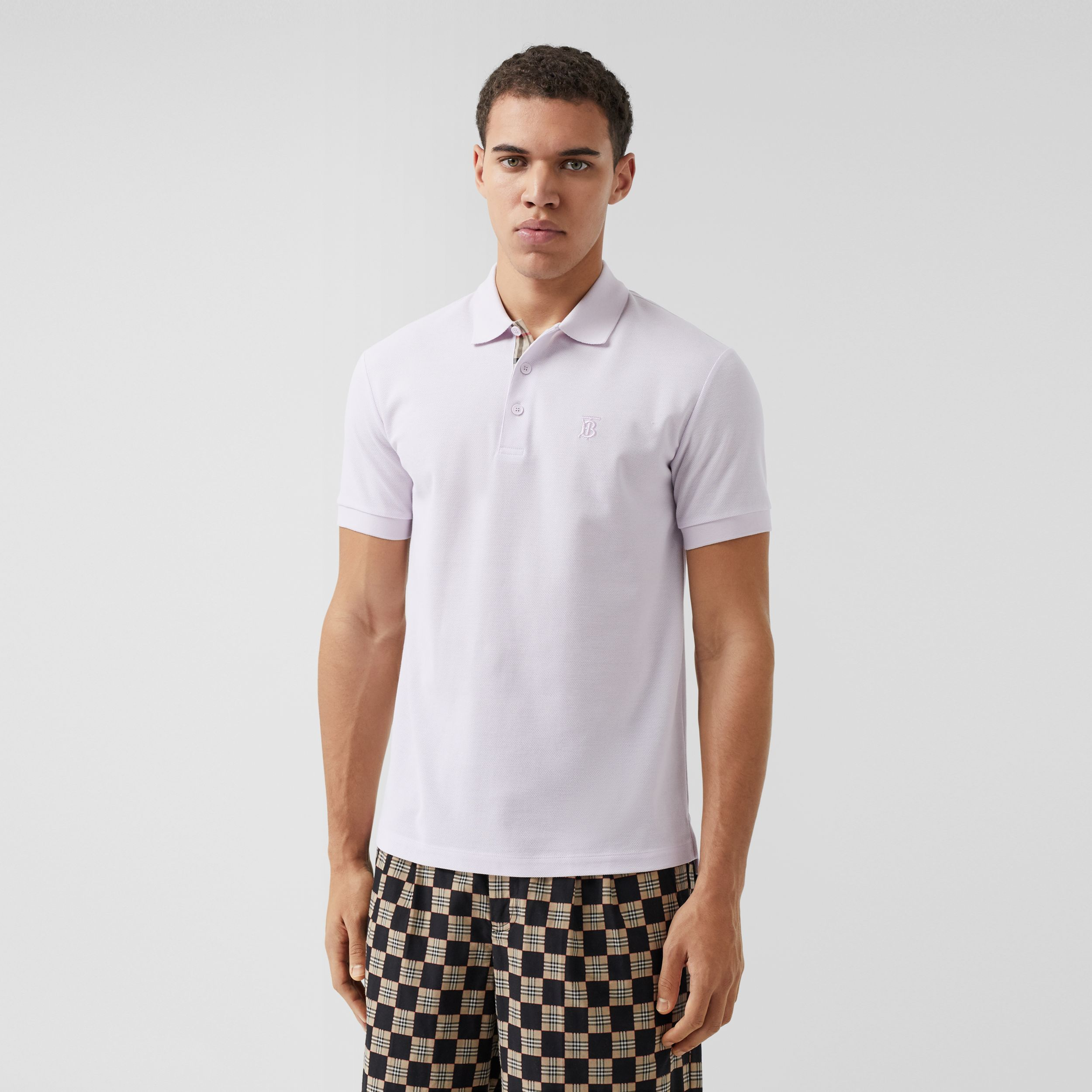 Monogram Motif Cotton Piqué Polo Shirt in Pale Thistle - Men | Burberry - 1