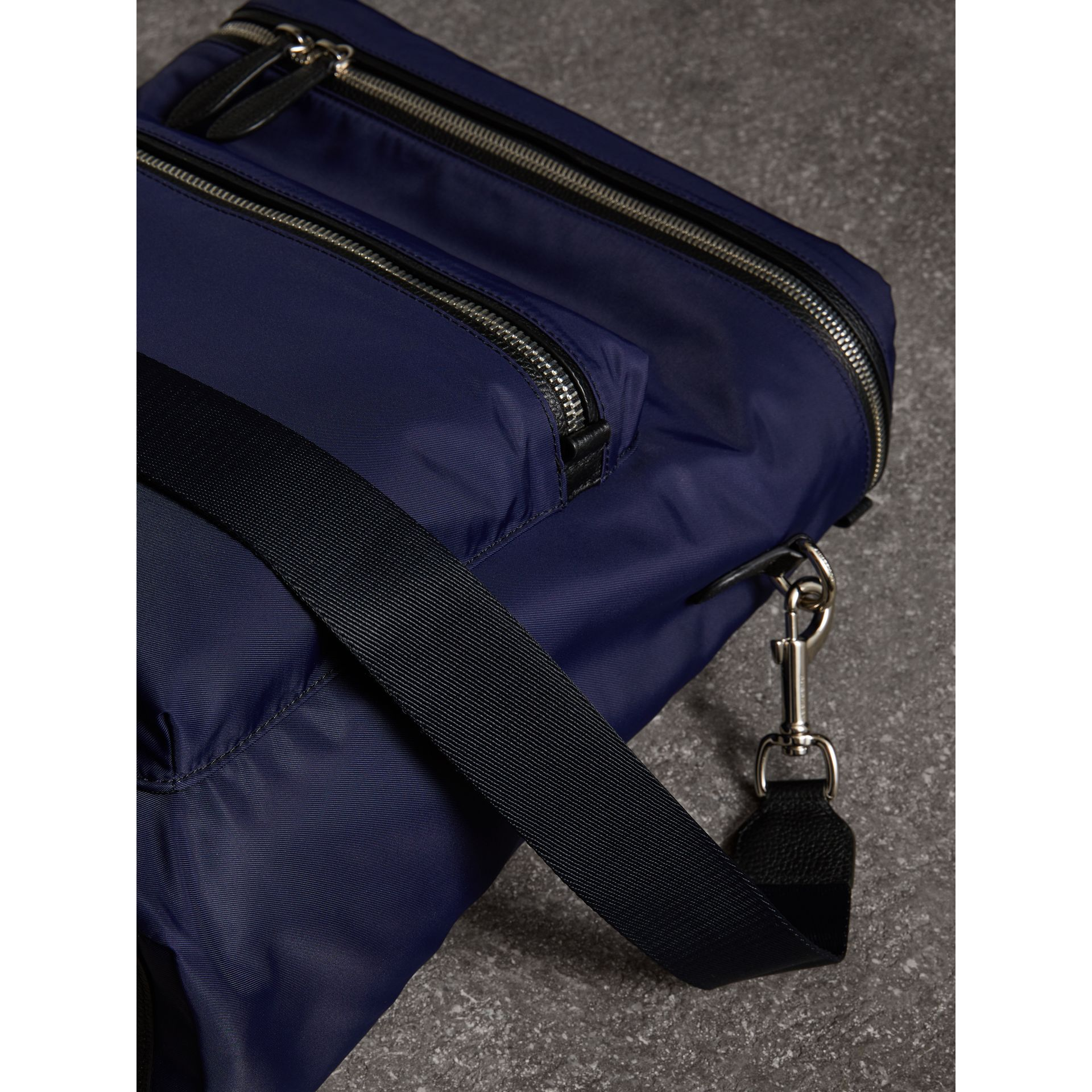 Zip-top Leather Trim Showerproof Backpack in Dark Navy - Men | Burberry - gallery image 6