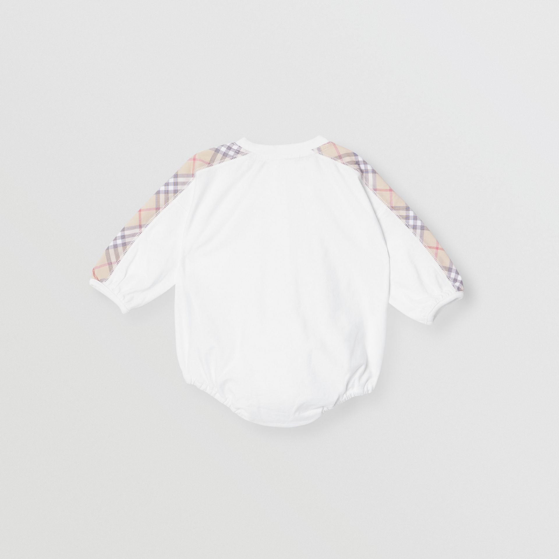 Check Detail Cotton Three-piece Baby Gift Set in White - Children | Burberry - gallery image 5