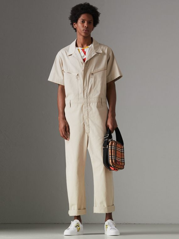 Short-sleeve Cotton Overalls in Stone