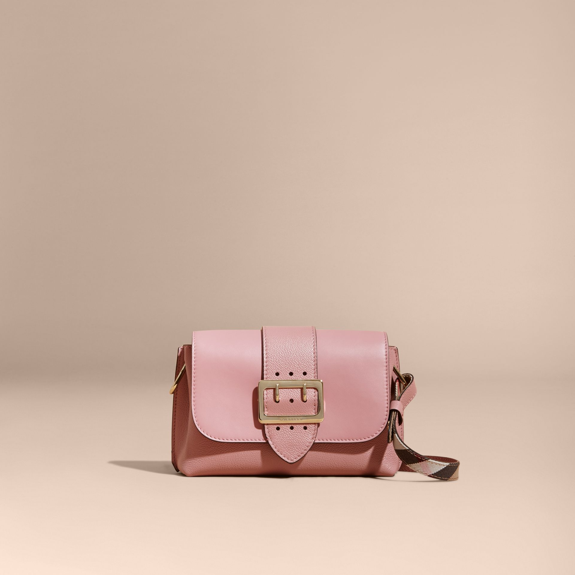 The Buckle Crossbody Bag in Leather in Dusty Pink - gallery image 9