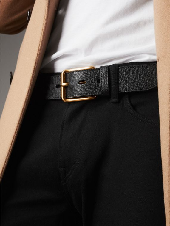 Grainy Leather Belt in Black - Men | Burberry Australia - cell image 2