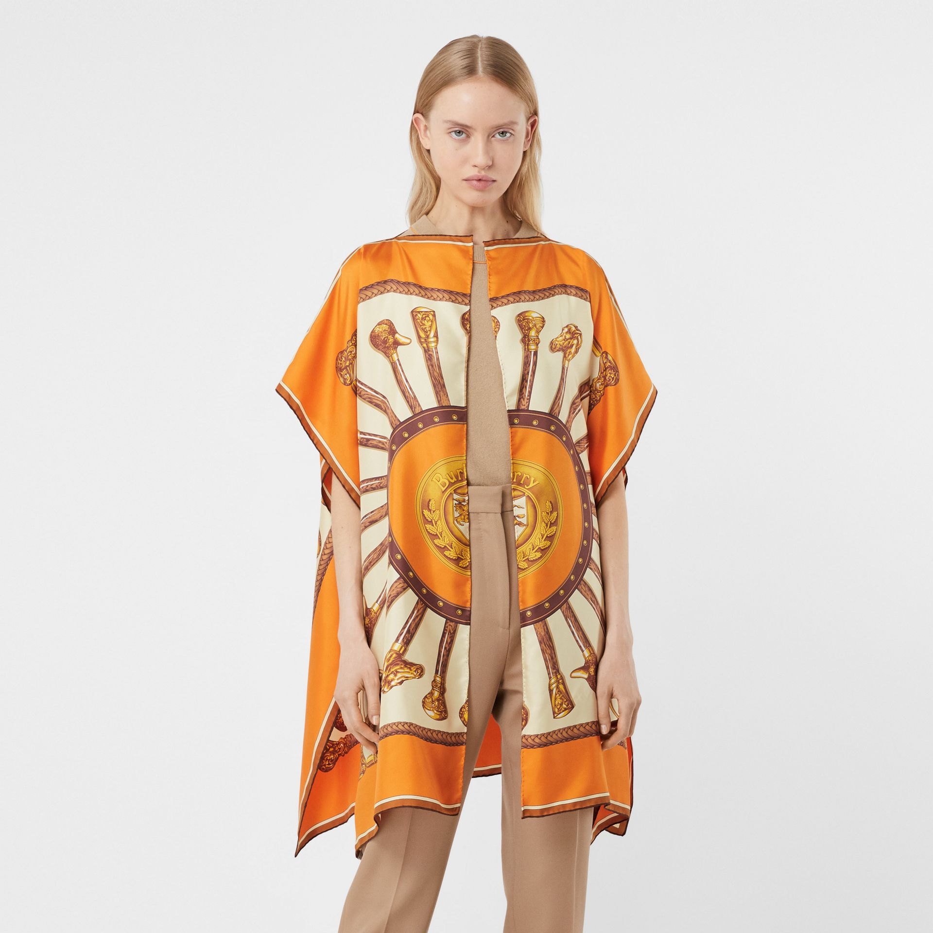 Archive Scarf Print Silk Twill Cape in Bright Orange - Women | Burberry United States - gallery image 4
