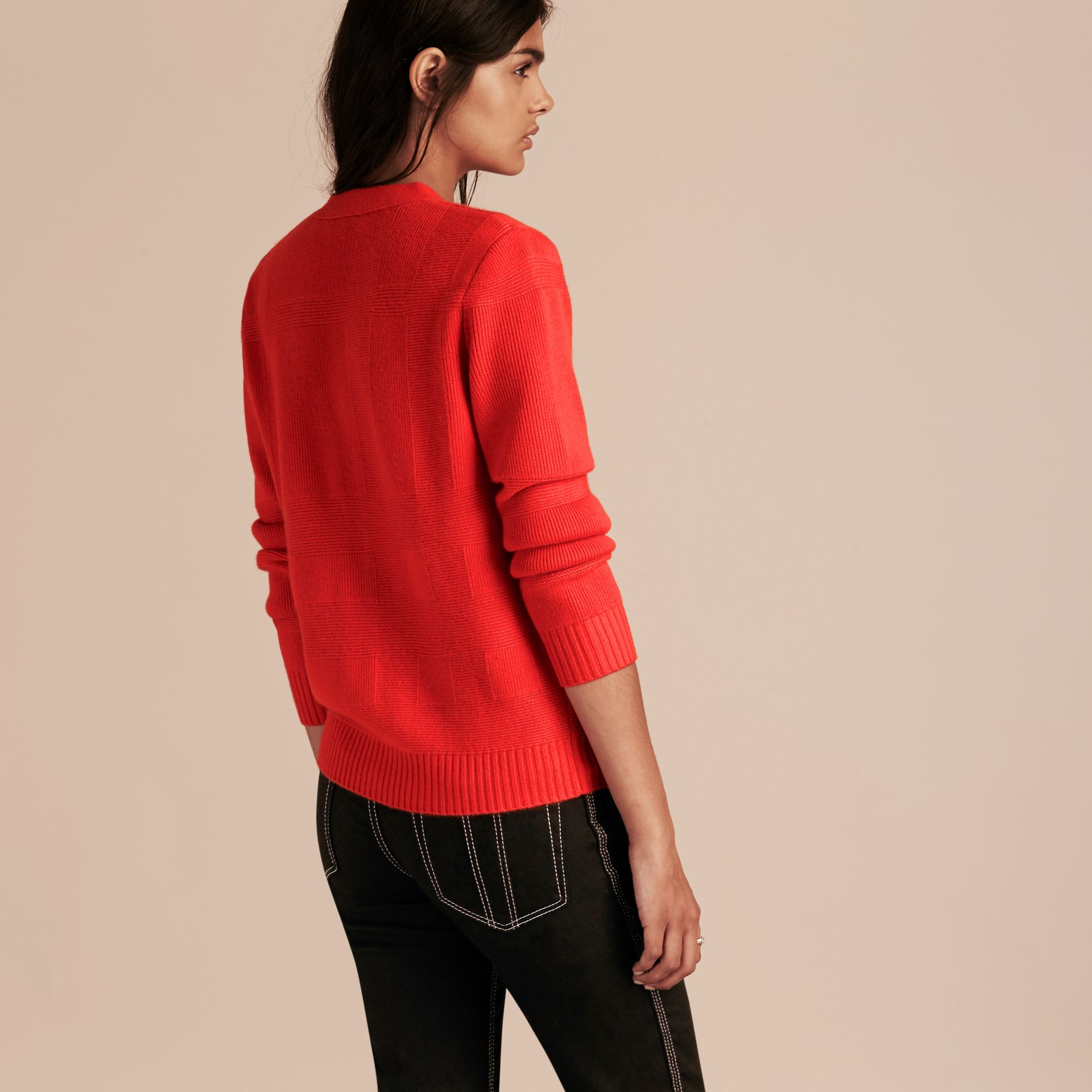 Check-knit Wool Cashmere Cardigan in Bright Military Red - gallery image 3
