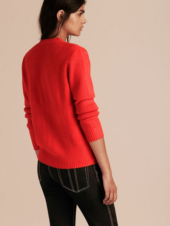 Check-knit Wool Cashmere Cardigan in Bright Military Red - cell image 2