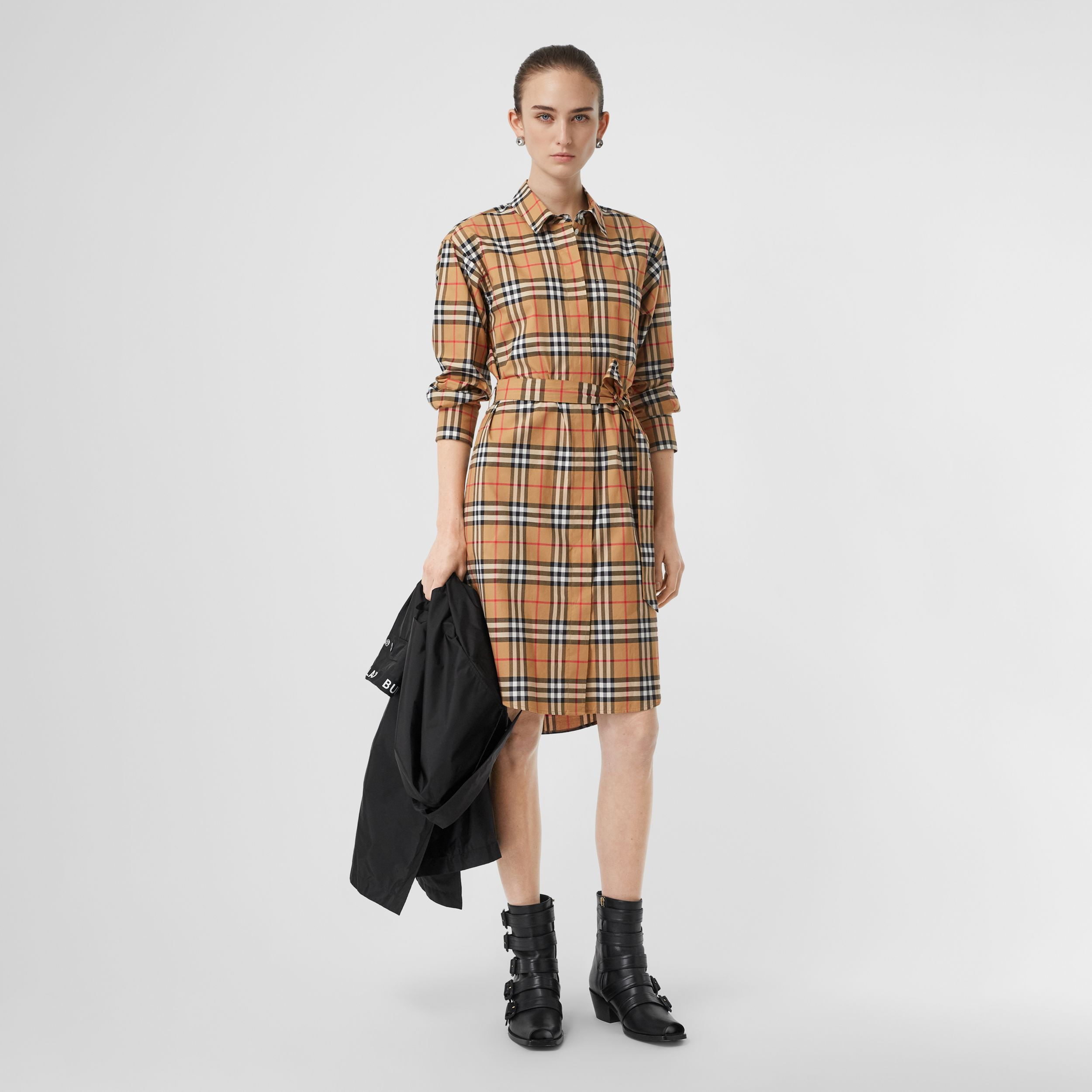 Vintage Check Cotton Tie-waist Shirt Dress in Antique Yellow - Women | Burberry - 1