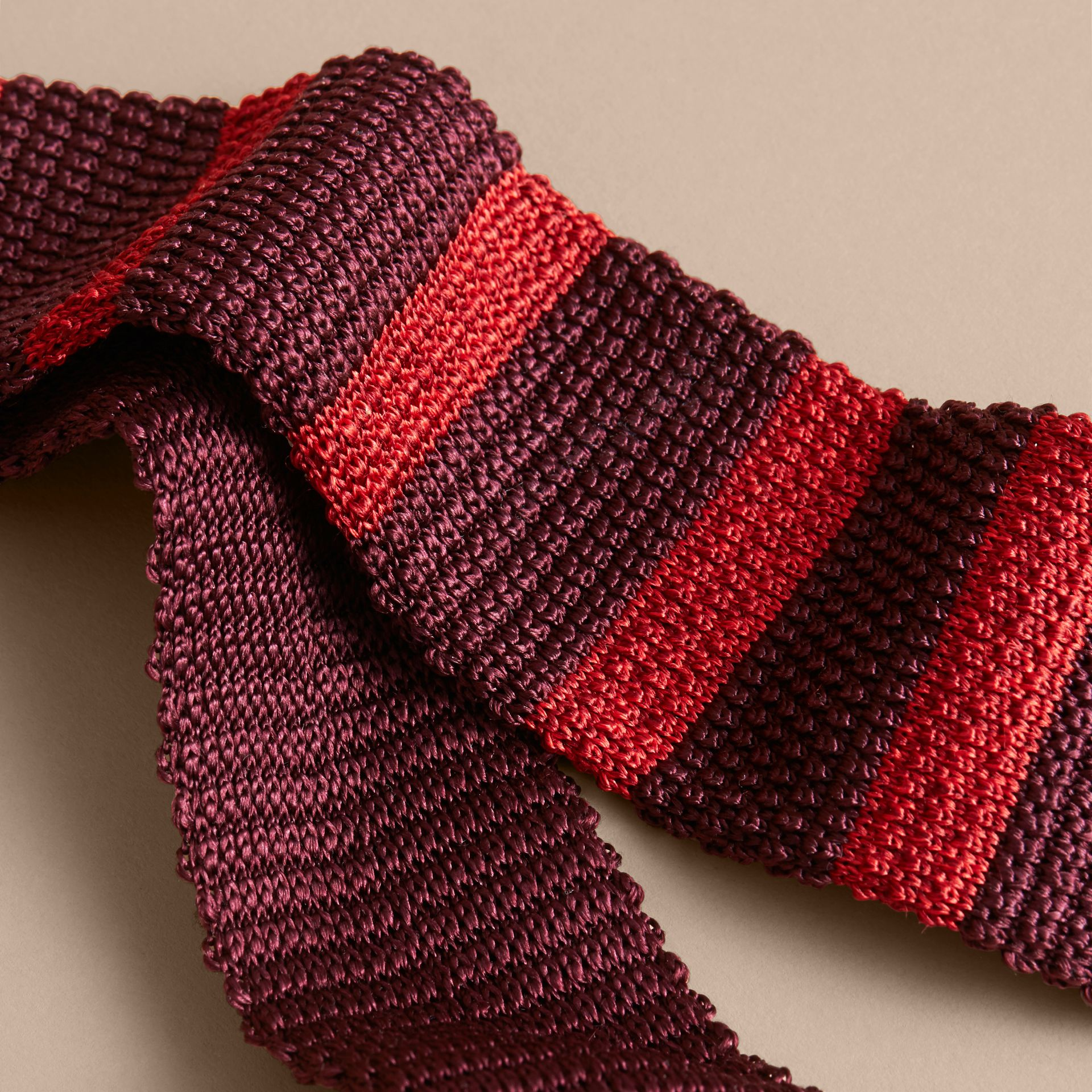 Slim Cut Two-tone Knitted Silk Tie in Burgundy - Men | Burberry - gallery image 2