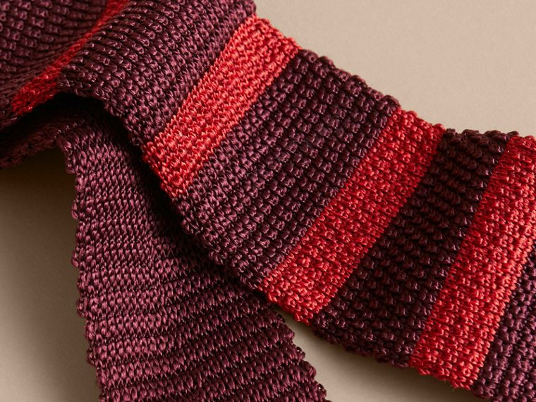 Slim Cut Two-tone Knitted Silk Tie in Burgundy - Men | Burberry Australia - cell image 1