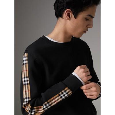 Vintage Sweat En Détails Motif Shirt Check Coton Mélangé noir Avec À qq48rH