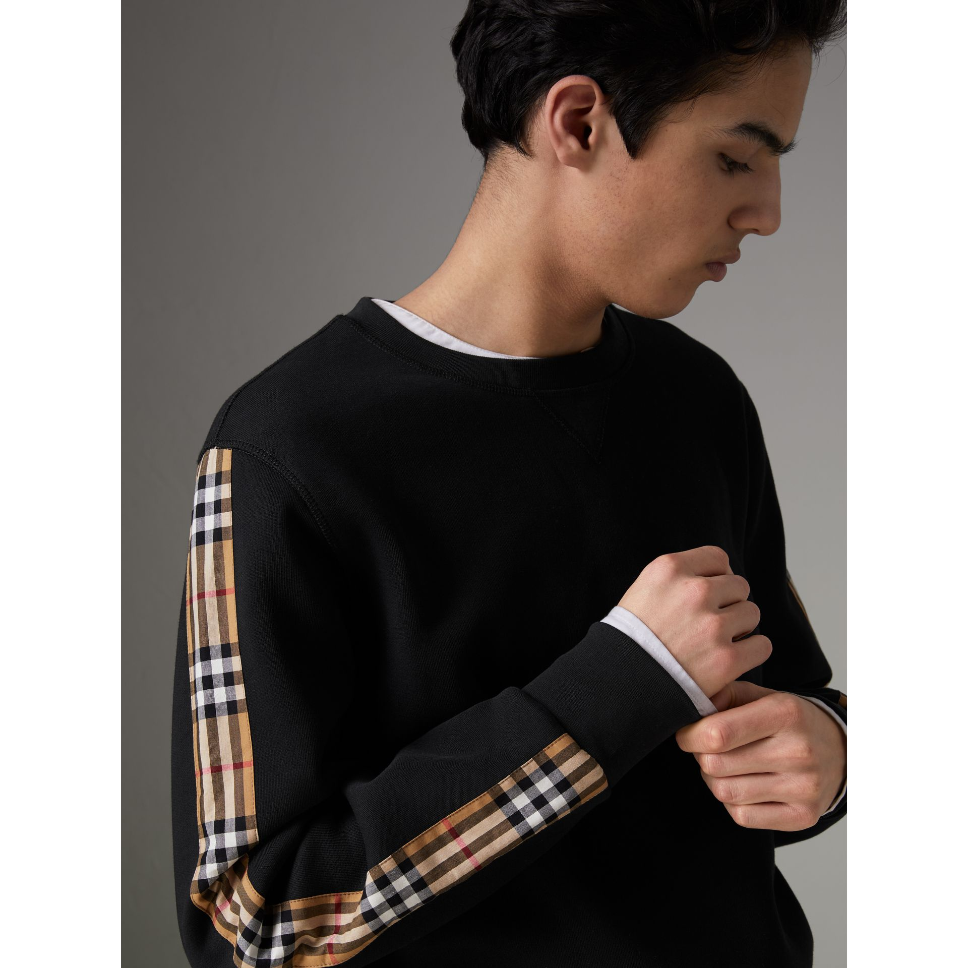 Vintage Check Detail Cotton Blend Sweatshirt in Black - Men | Burberry Australia - gallery image 1