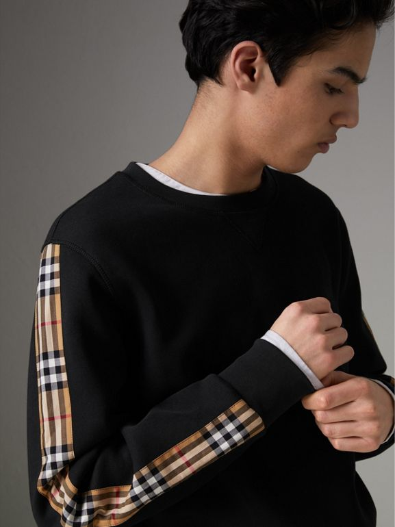 Vintage Check Detail Cotton Blend Sweatshirt in Black - Men | Burberry Hong Kong - cell image 1