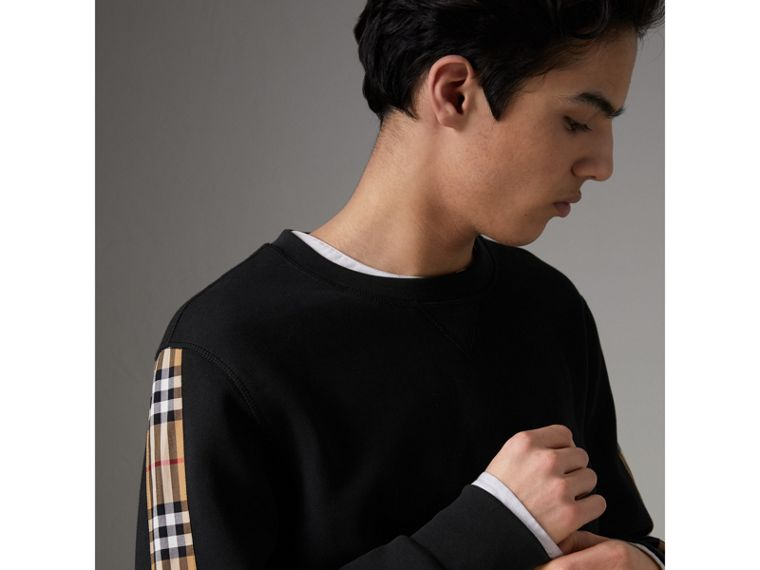 Vintage Check Detail Cotton Blend Sweatshirt in Black - Men | Burberry Singapore - cell image 1