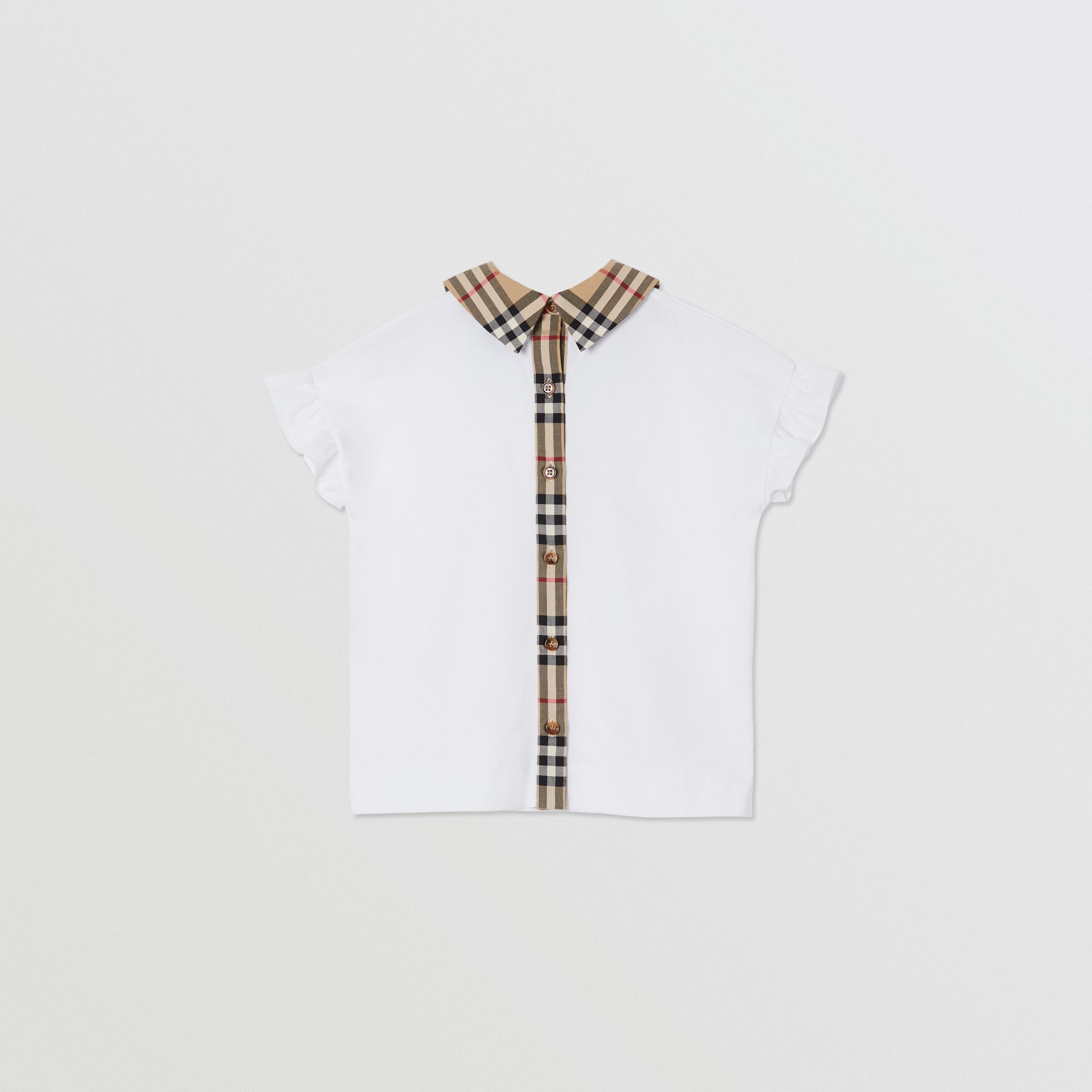 Vintage Check Detail Ruffled Sleeve Cotton T-shirt in White | Burberry - gallery image 3