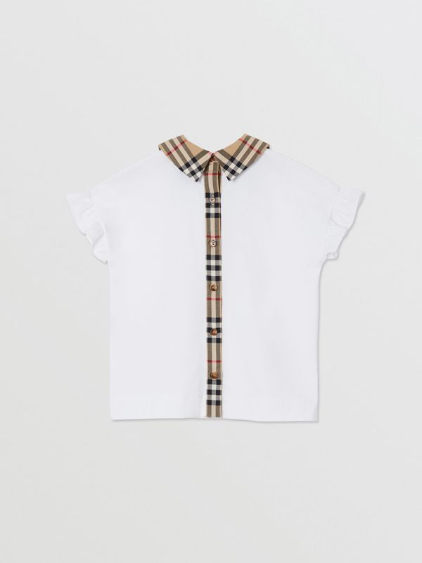 Vintage Check Detail Ruffled Sleeve Cotton T-shirt in White | Burberry - cell image 3