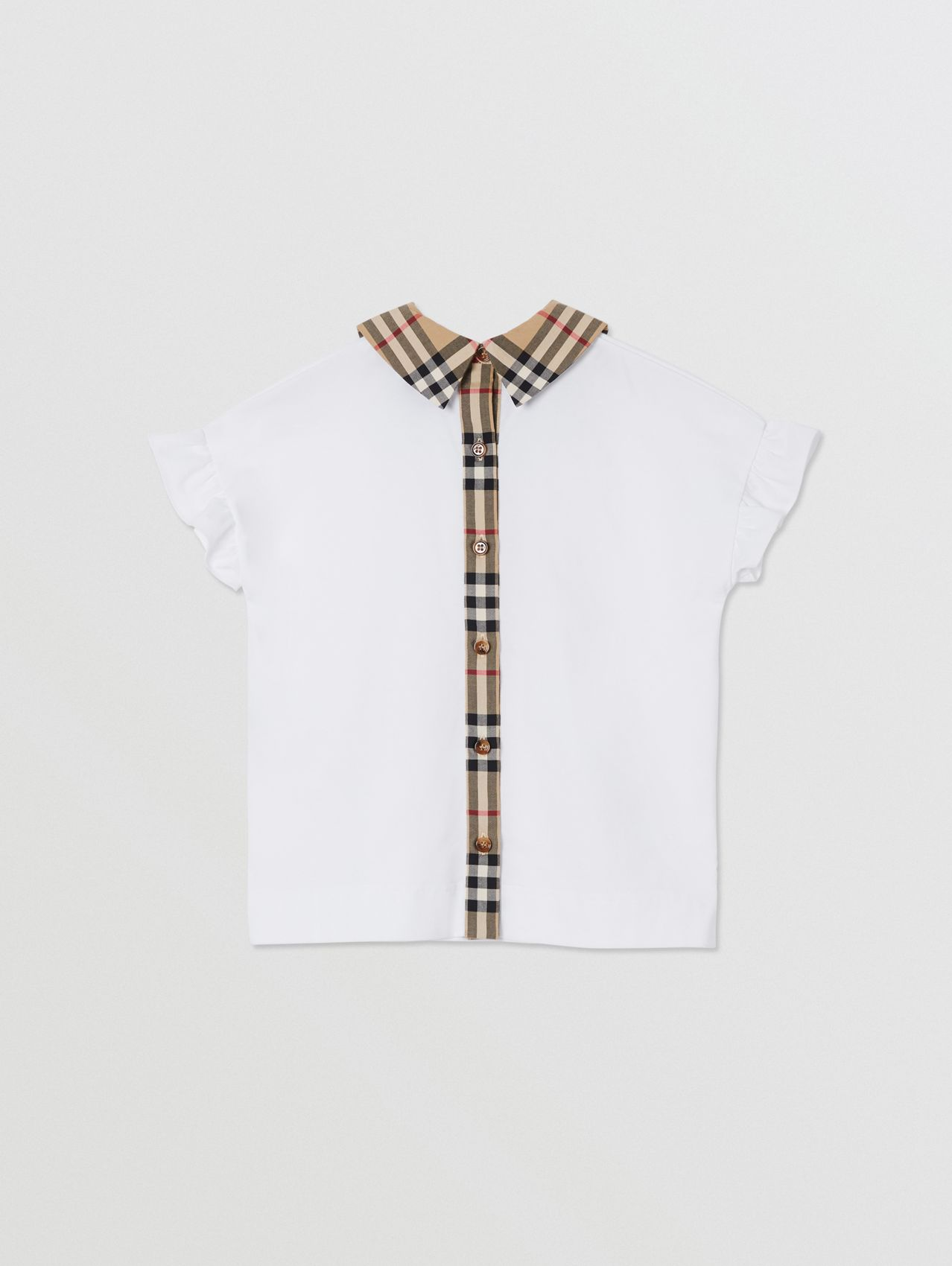 Vintage Check Detail Ruffled Sleeve Cotton T-shirt (White)