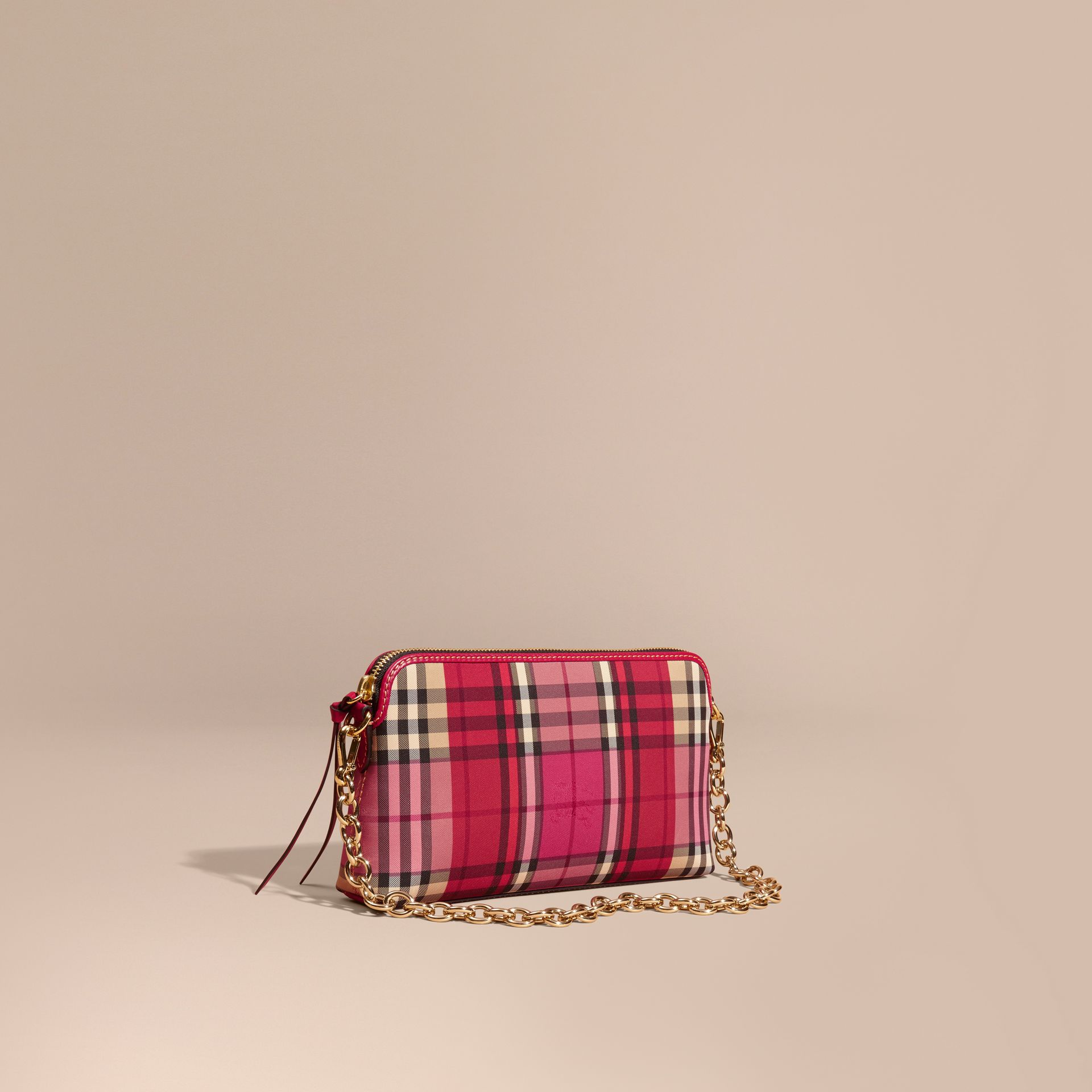 Overdyed Horseferry Check and Leather Clutch Bag - gallery image 1