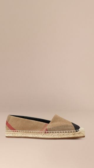 Espadrillas in cotone e juta check