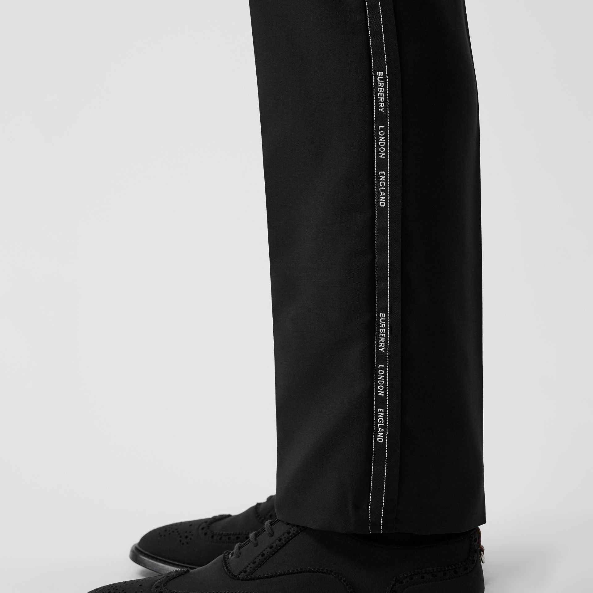 Classic Fit Logo Detail Wool Mohair Tailored Trousers in Black | Burberry Singapore - gallery image 1