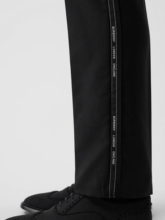Classic Fit Logo Detail Wool Mohair Tailored Trousers in Black | Burberry Singapore - cell image 1