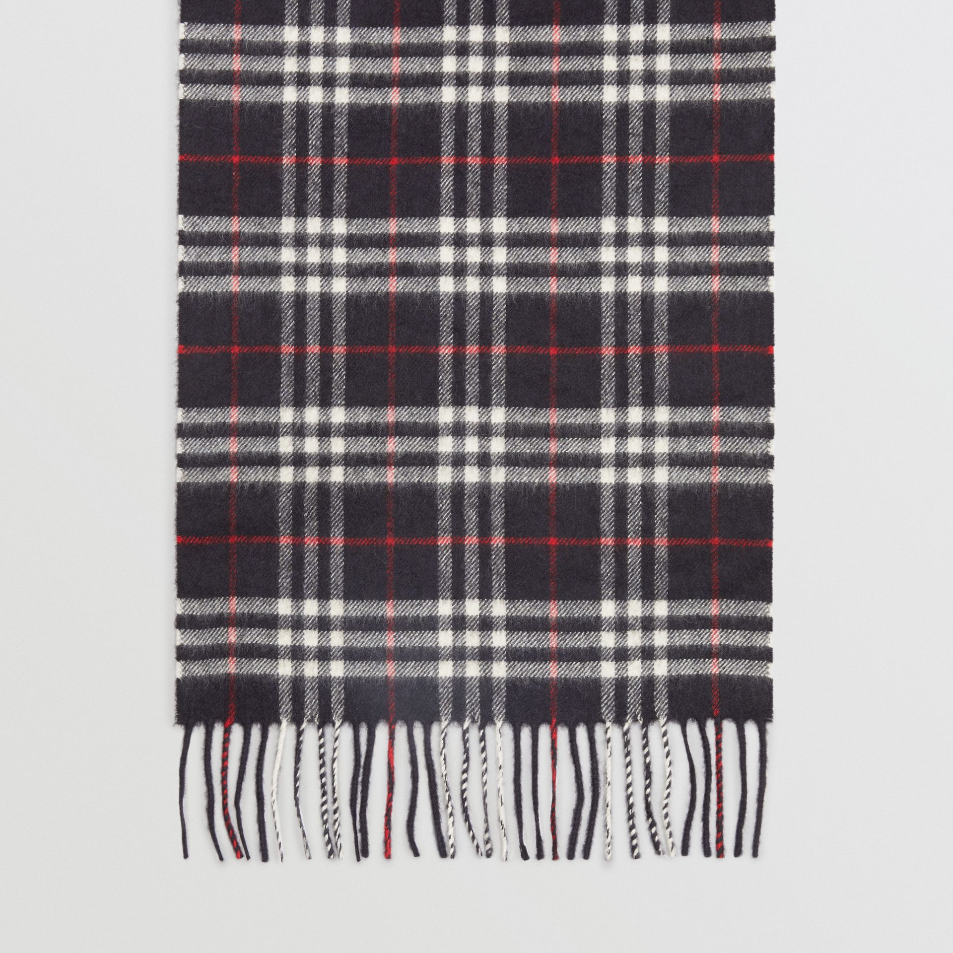 Check Cashmere Scarf in Navy | Burberry Canada - gallery image 4