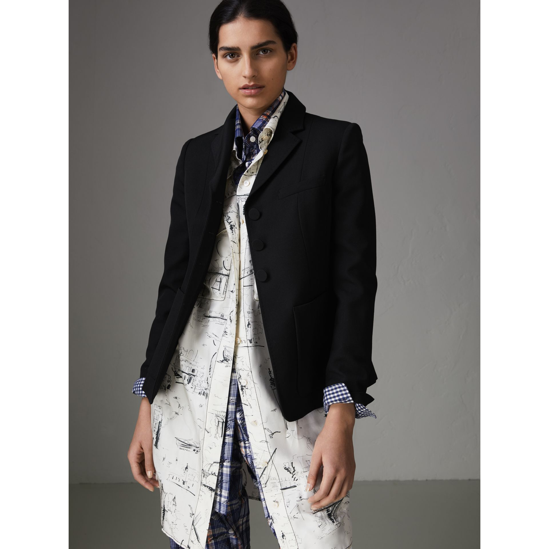Wool Twill Tailored Jacket in Black - Women | Burberry United Kingdom - gallery image 4