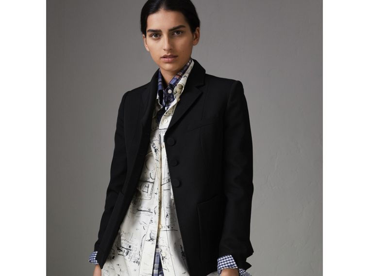 Wool Twill Tailored Jacket in Black - Women | Burberry United States - cell image 4