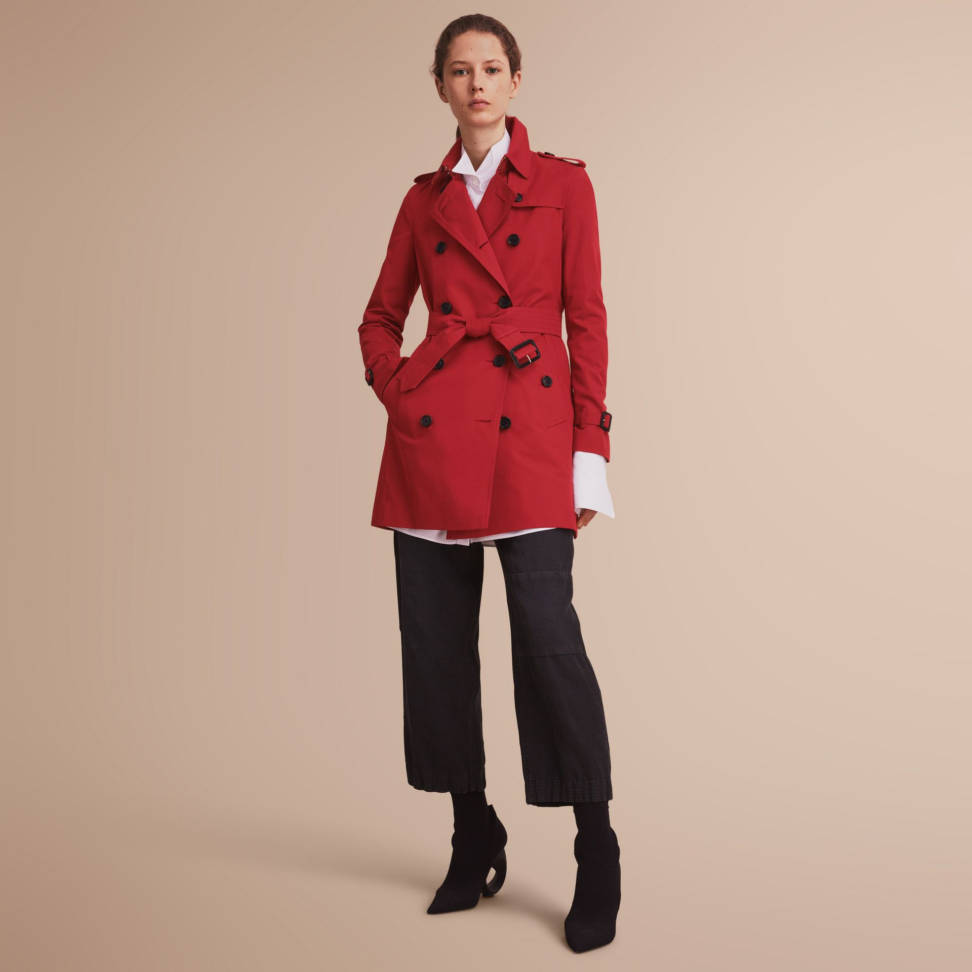 The Kensington – Mid-Length Heritage Trench Coat in Parade Red - Women | Burberry - gallery image 1