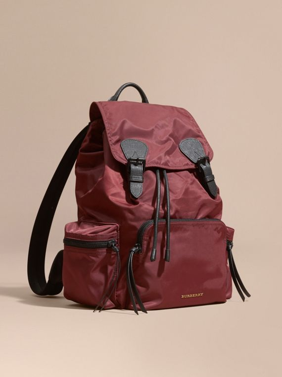 The Large Rucksack in Technical Nylon and Leather Burgundy Red