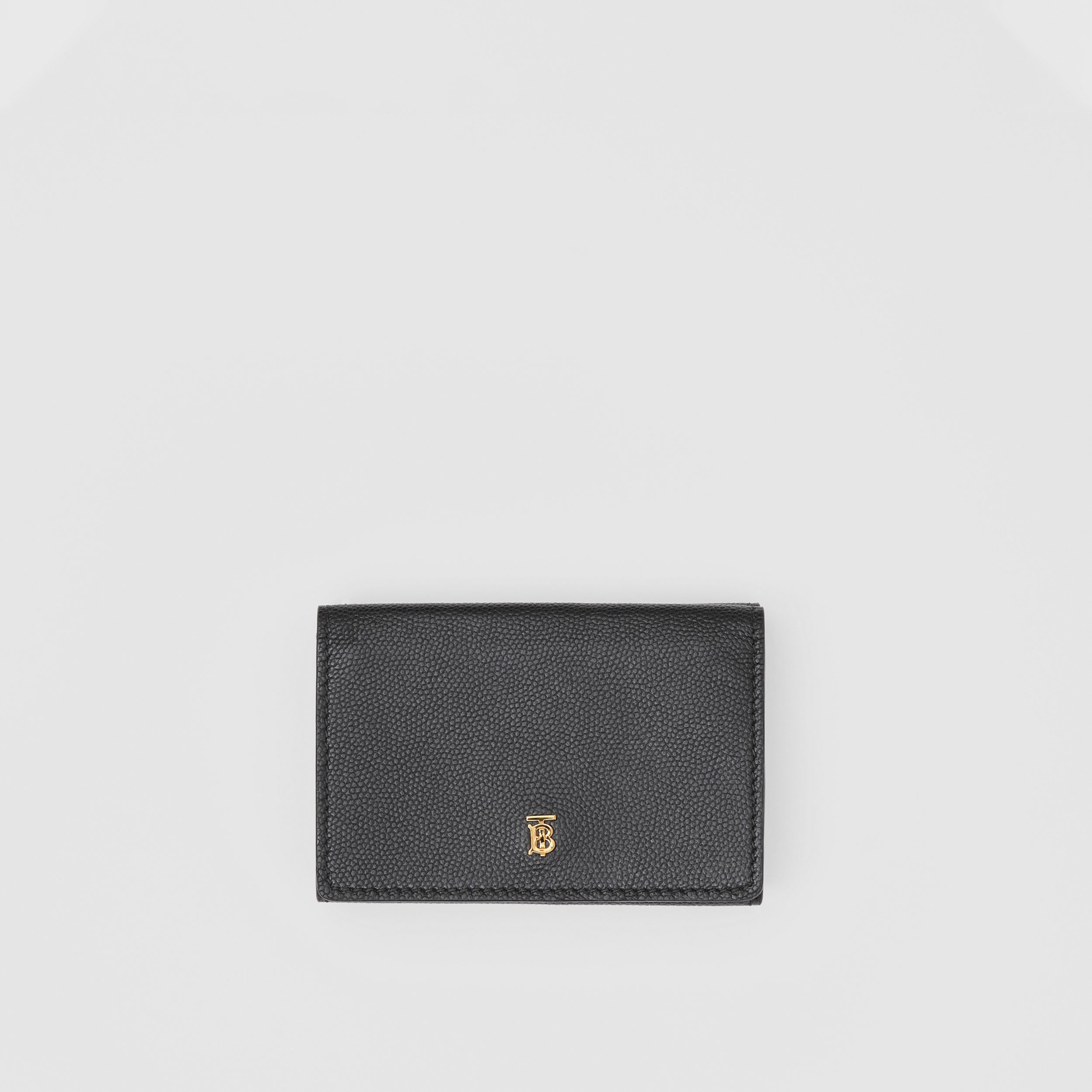 Small Grainy Leather Folding Wallet in Black - Women | Burberry - 1