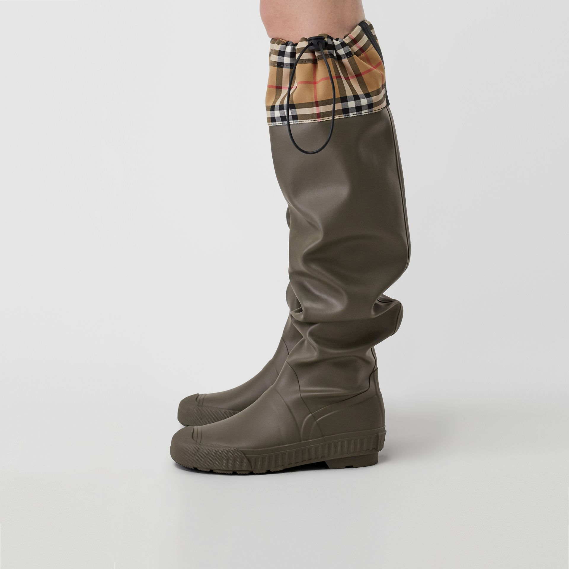 Vintage Check and Rubber Knee-high Rain Boots in Military Green - Women | Burberry Canada - gallery image 2