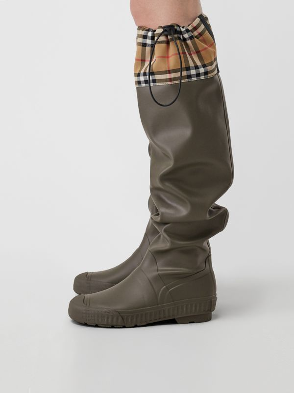 Vintage Check and Rubber Knee-high Rain Boots in Military Green - Women | Burberry - cell image 2