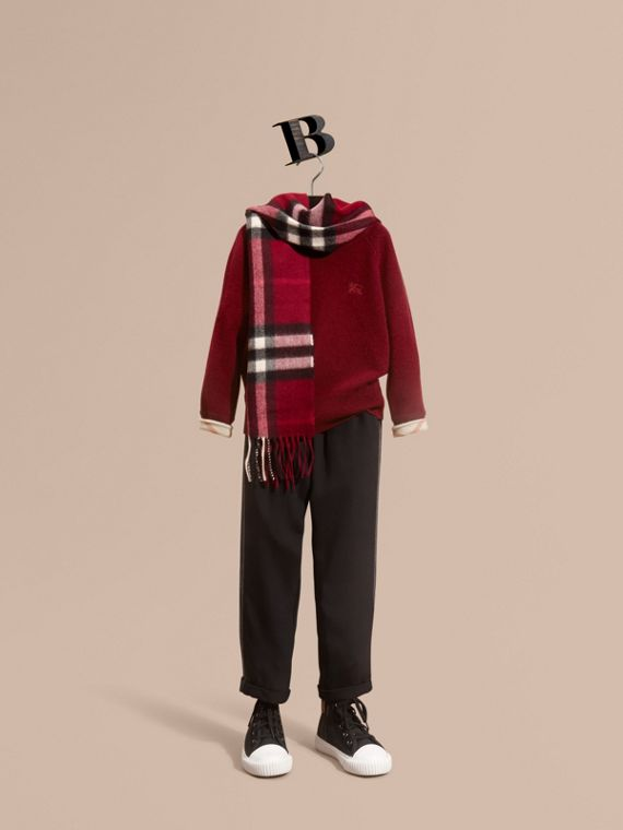 Check Cuff Cashmere Sweater Mahogany Red