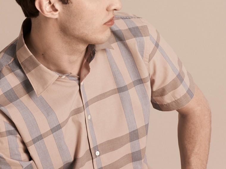 Cammello chiaro Camicia a maniche corte in cotone con motivo check Cammello Chiaro - cell image 4