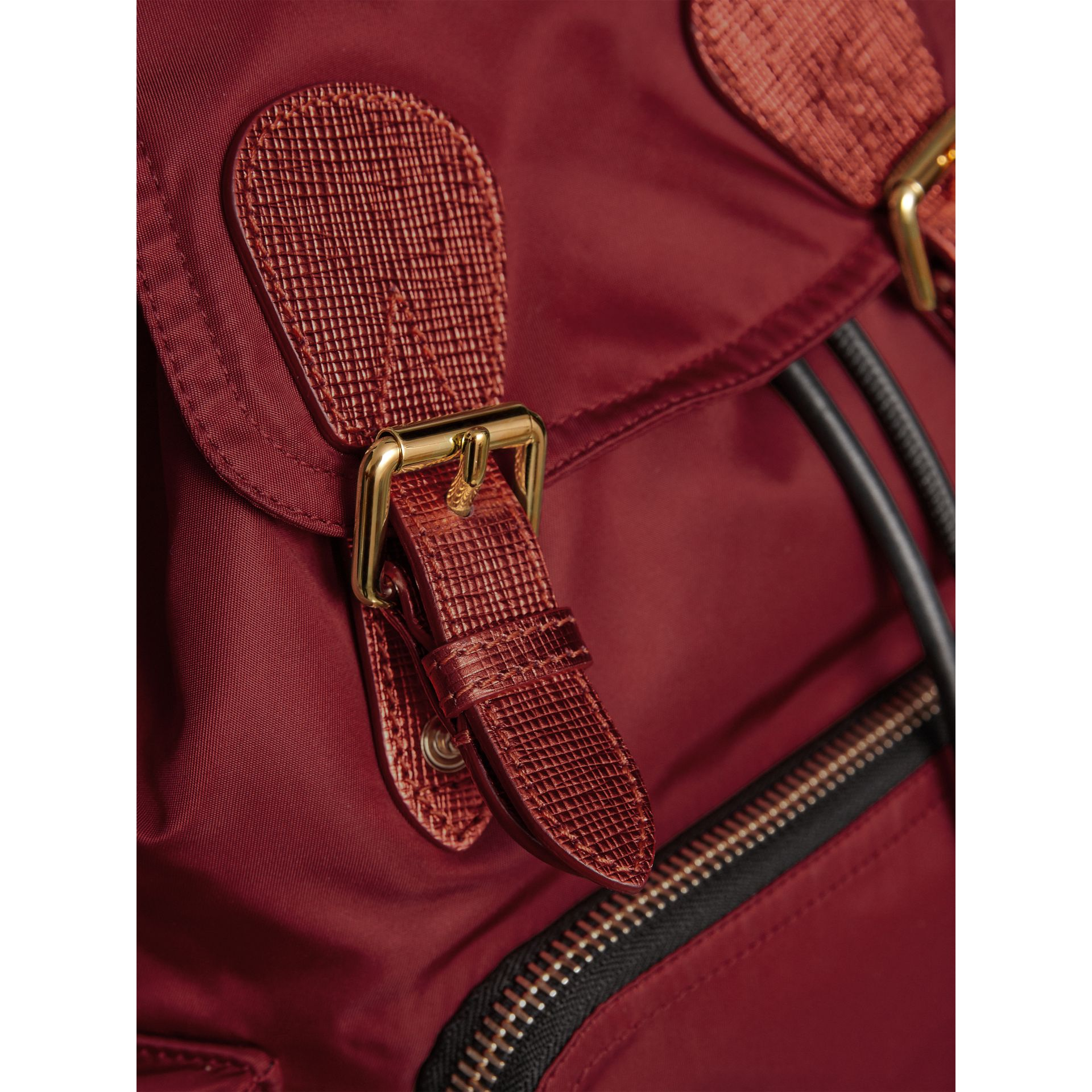The Medium Rucksack in Technical Nylon and Leather in Crimson Red - Women | Burberry Canada - gallery image 6
