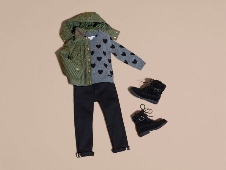 Olive Quilted Jacket with Detachable Hood - cell image 4