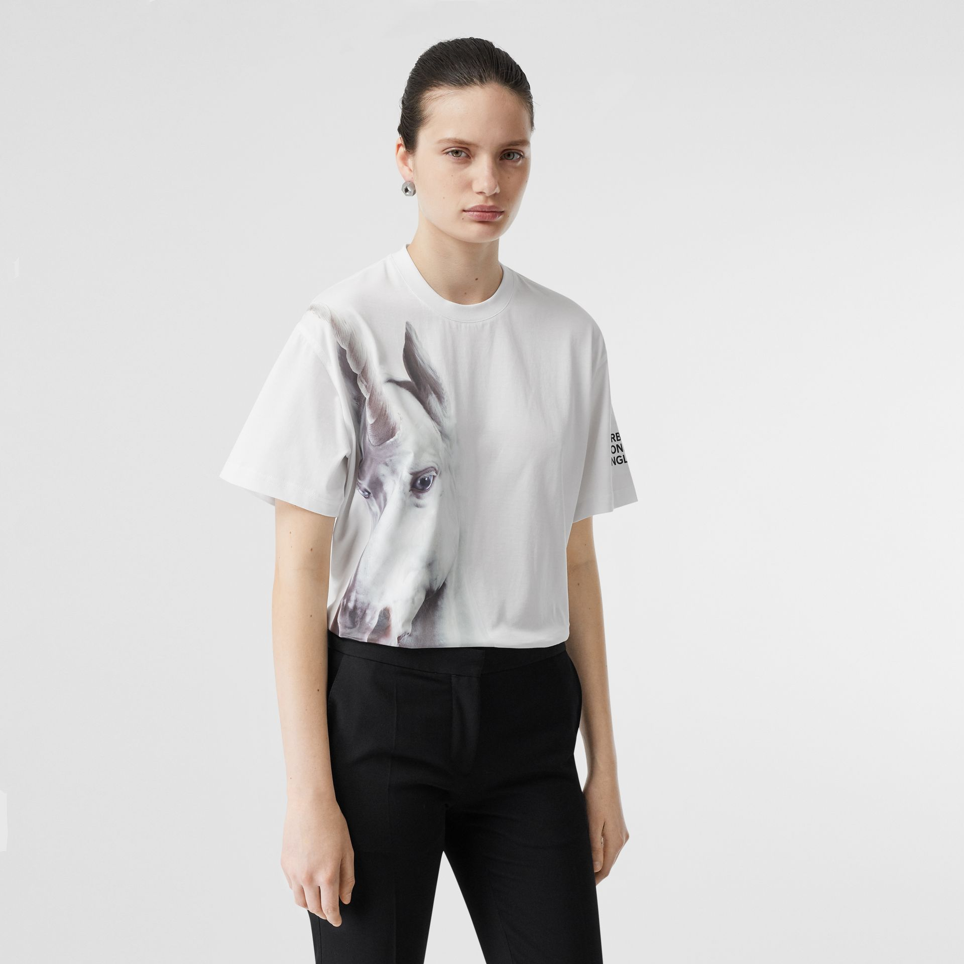 Unicorn Print Cotton Oversized T-shirt in White - Women | Burberry United Kingdom - gallery image 0