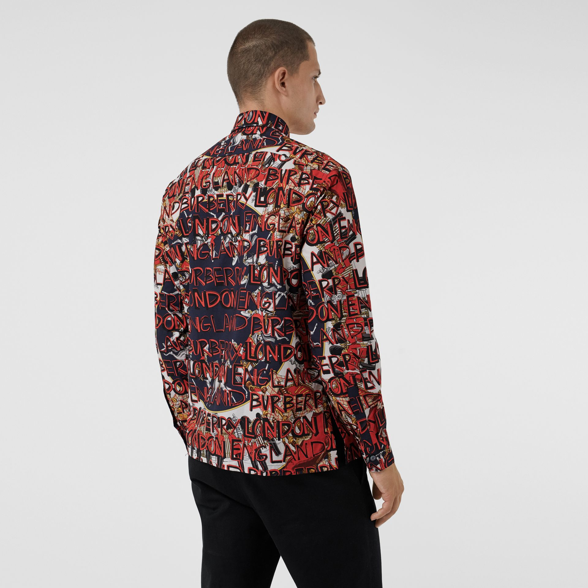 Graffiti Archive Scarf Print Cotton Shirt in Navy - Men | Burberry - gallery image 2