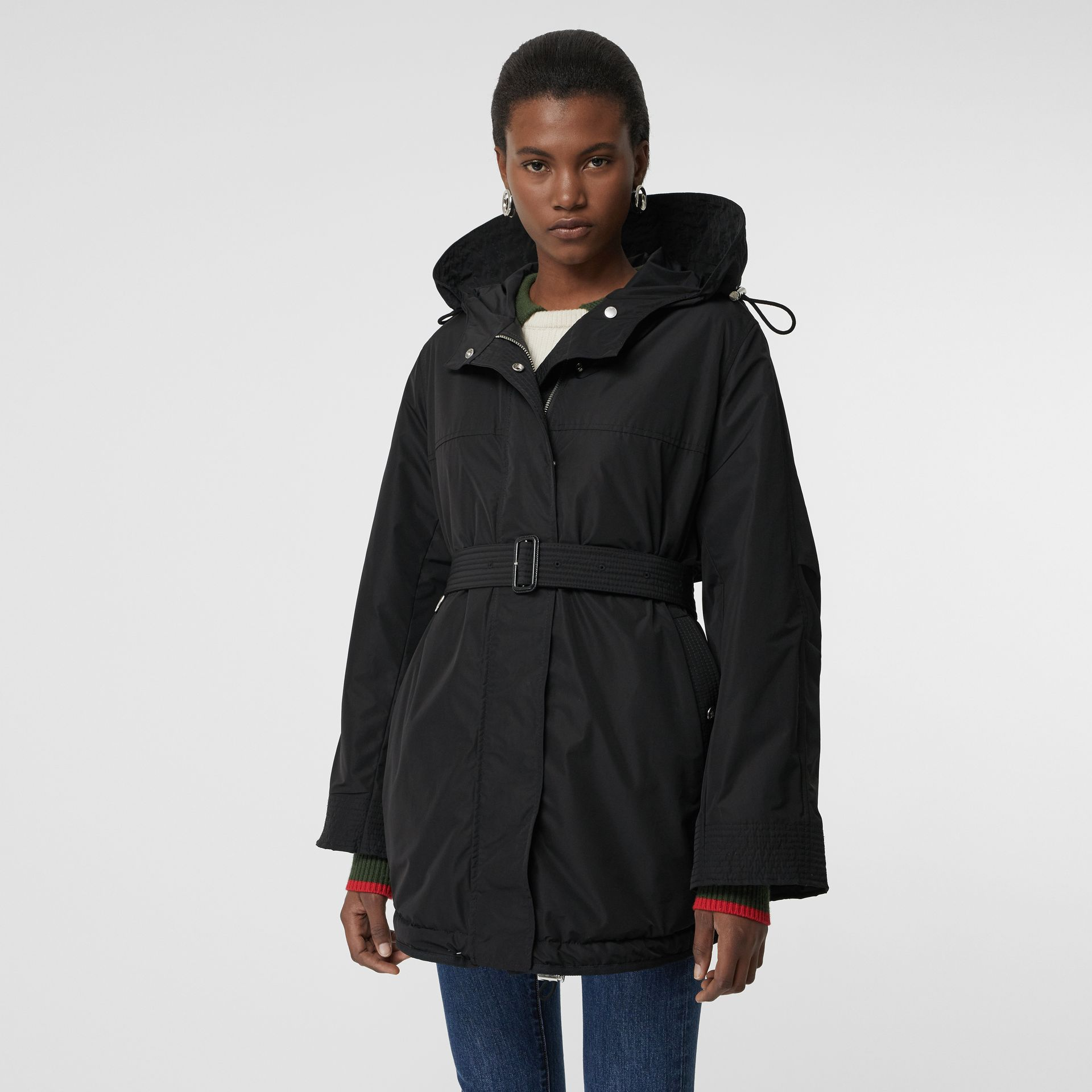 Shape-memory Taffeta Hooded Parka in Black - Women | Burberry Australia - gallery image 5