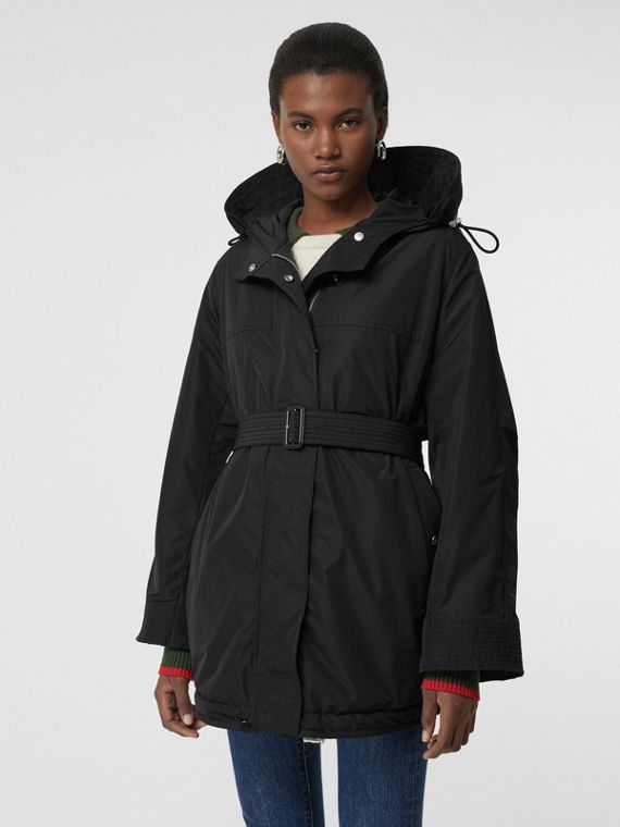Shape-memory Taffeta Hooded Parka in Black
