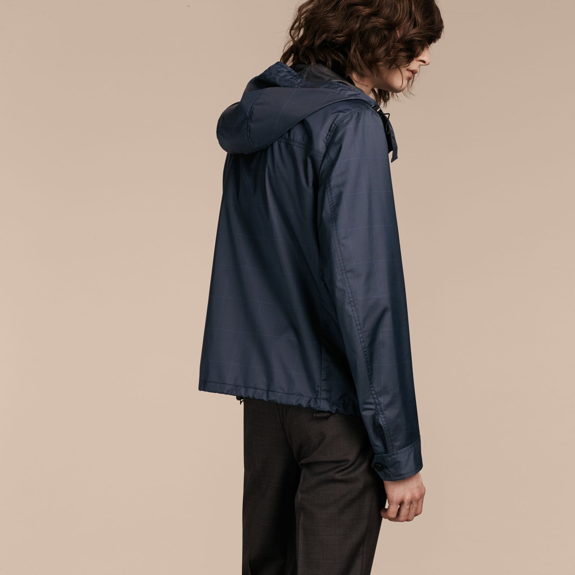 Navy Hooded Technical Jacket with Lambskin Trim - gallery image 3