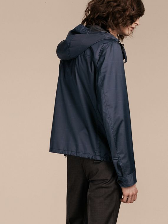 Navy Hooded Technical Jacket with Lambskin Trim - cell image 2